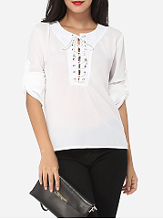 Plain Cross Straps Courtly Round Neck Blouse