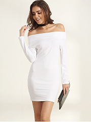 Off Shoulder Dacron Bodycon-dress