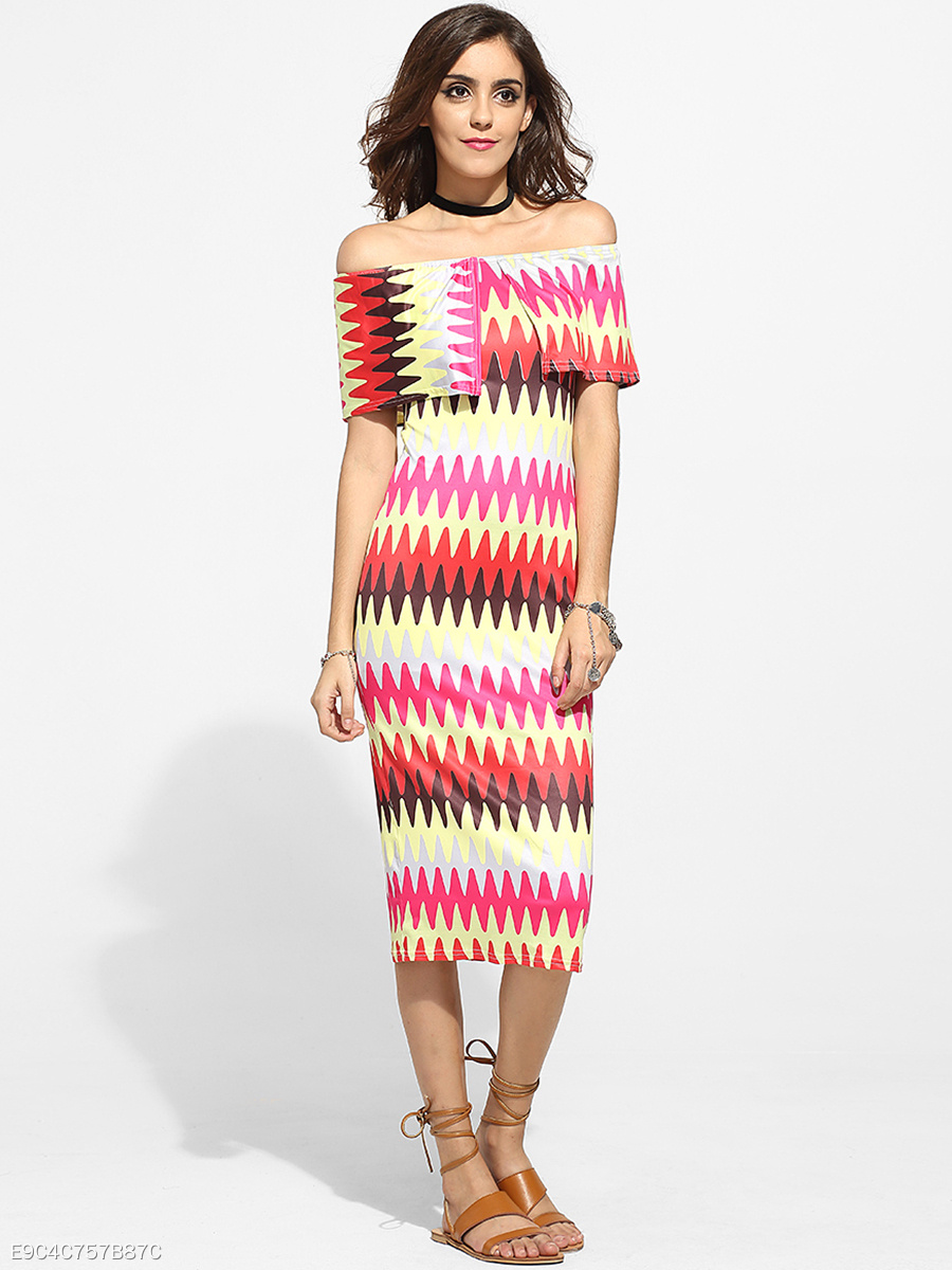 Off Shoulder Dacron Assorted Colors Printed Zigzag Striped Maxi-dress