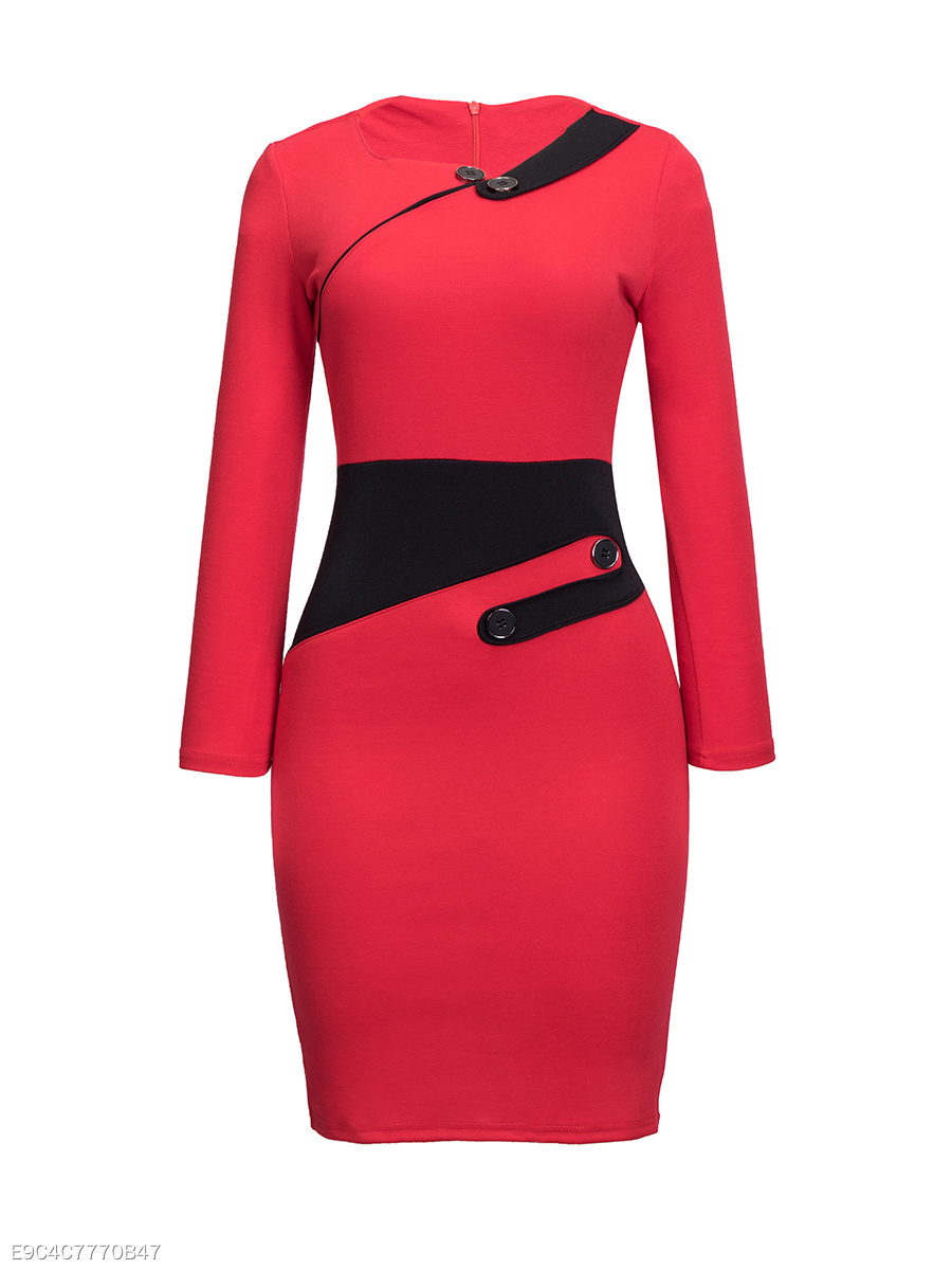 Asymmetric Neckline Color Block Buttons Bodycon-dress