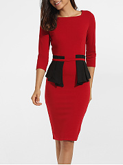 Falbala Square Neck Dacron Color Block Split Bodycon Dress