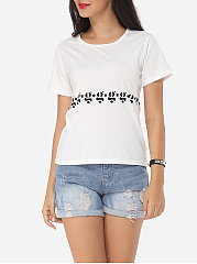 Printed Modern Round Neck Short-sleeve-t-shirt