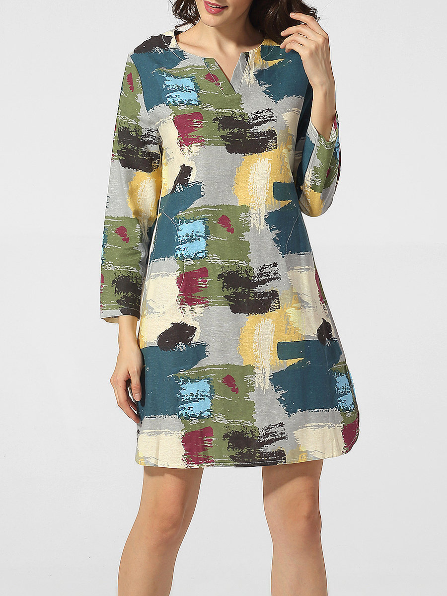 Split Neck Graffiti Shift-dress
