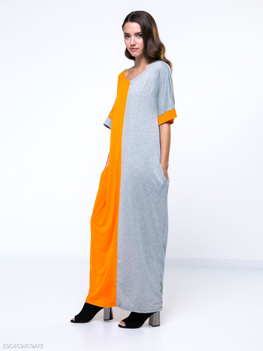Color Block Loose Fitting Round Neck Maxi Dress