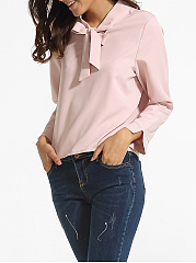 Loose Fitting Bow Collar Dacron Plain Blouse