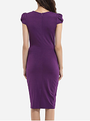 Puff Sleeve Square Neck Dacron Color Block Bodycon Dress