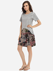 Loose Fitting Round Neck Cotton Floral Patchwork Printed Shift-dress