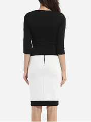 Color Block Black White Round Neck Bodycon-Dress