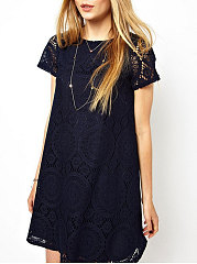 Hollow Out Lace Plain Elegant Round Neck Blouse