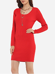 Round Neck Blended Hollow Out Plain Bodycon Dress