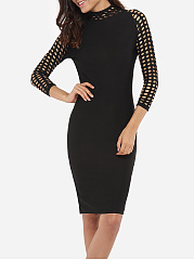 Hooded Dacron Hollow Out Plain Bodycon-dress