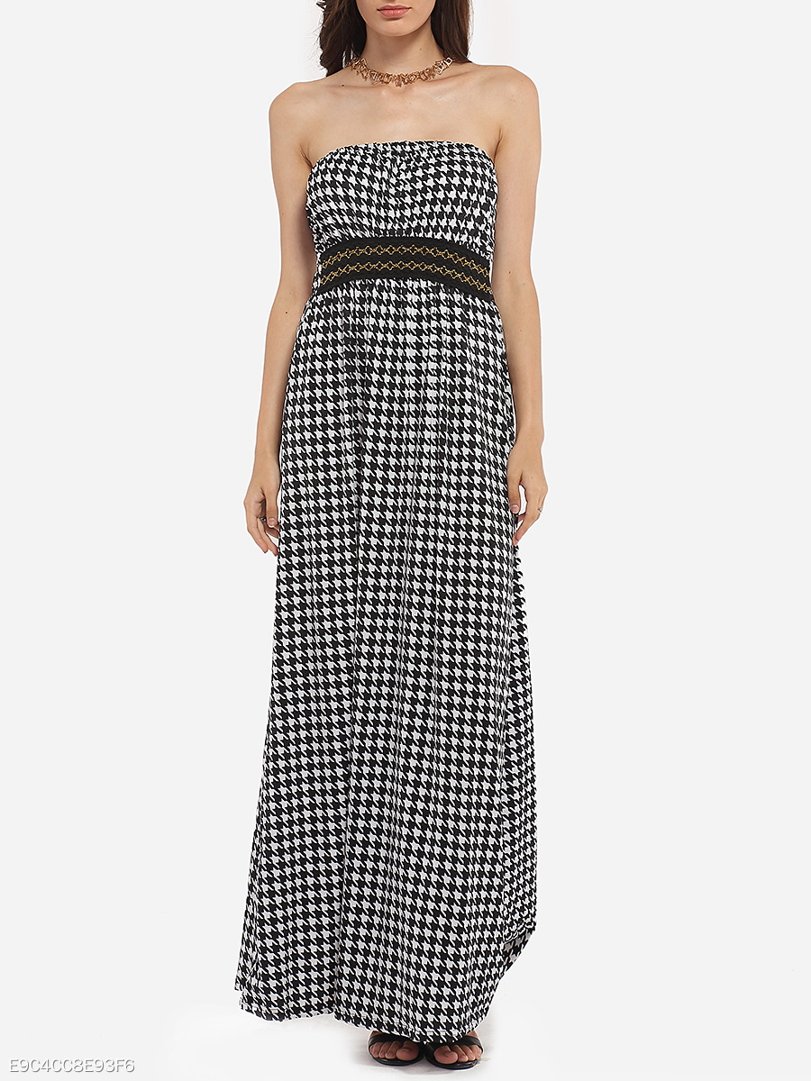 Tube Dacron Houndstooth Printed Maxi Dress