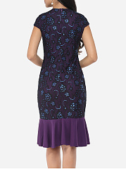 Floral Lace Printed Mermaid Elegant Round Neck Bodycon-dress