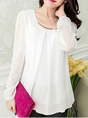 Autumn Spring  Chiffon  Women  Round Neck  Asymmetric Hem  Plain  Long Sleeve Blouses