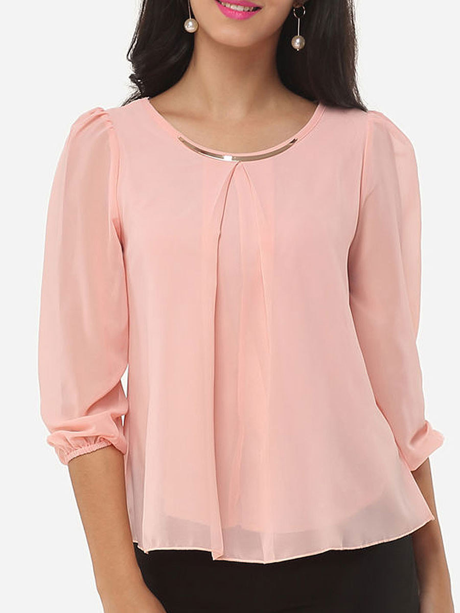 Autumn Spring Chiffon Women Round Neck Asymmetric Hem ...