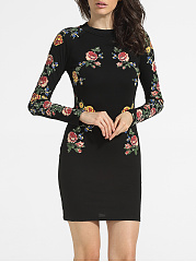 Crew Neck Cotton Floral Printed Bodycon-dress