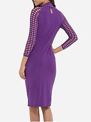 Hollow Bodycon Out Dresses Plain High Zipper Neck
