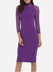 High Neck Dacron Hollow Out Plain Bodycon-dress