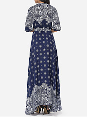 Bohemian Printed Split Cross Straps Loose Fitting Charming V Neck Maxi-dress