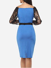 One Shoulder Dacron Lace Patchwork Split Bodycon Dress