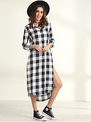 Single Breasted Turn Down Collar Plaid Printed Side-vented Blouse