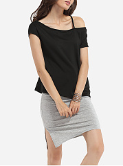 Asymmetric Neckline Cotton Hollow Out Plain Top And Cotton Plain Skirt