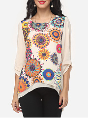 Autumn Spring Summer  Chiffon  Women  Round Neck  Printed  Three-Quarter Sleeve Blouses