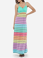Spaghetti Strap Dacron Hollow Out Stripes Maxi-dress