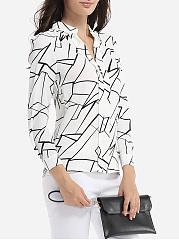 ... Loose Fitting Band Collar Chiffon Printed Blouse ...