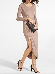 Round Neck Dacron Plain Side Slit Maxi-dress
