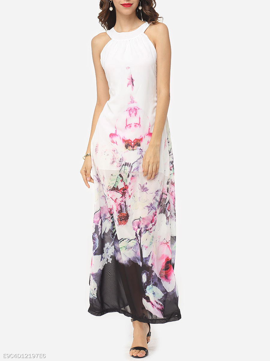 Floral Printed Delightful Crew Neck Maxi-dress