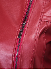 Band Collar Pockets Zips Leather Plain Jacket
