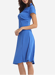 Plain Classical V Neck Skater-dress