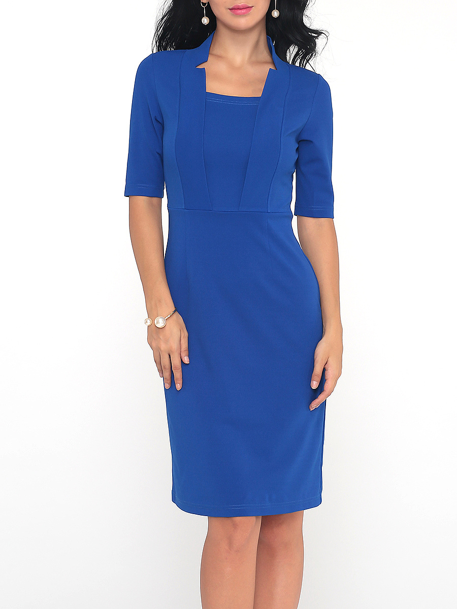 Women Office Solid Half Sleeve Bodycon Dress