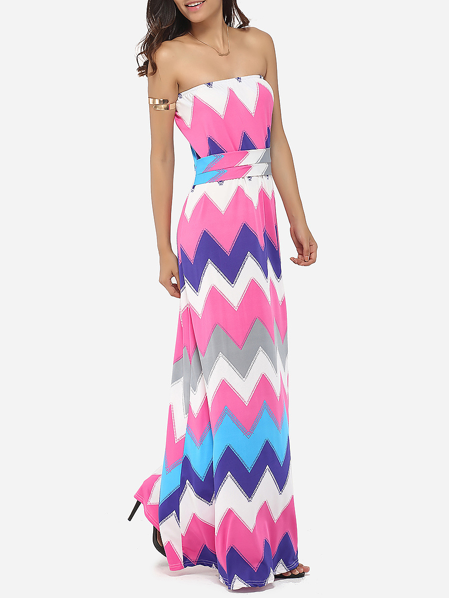 Tube Dacron Color Block Zigzag Striped Maxi-dress