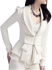 Notch Lapel  Bowknot Decorative Lace  Plain  Long Sleeve Blazers