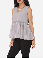 Plain Falbala Chic V Neck Blouse