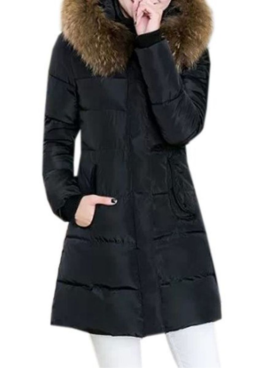 Comfortable With Pockets With Zips Hooded Solid Overcoat