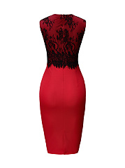 Captivating Round Neck Decorative Lace Bodycon Dress