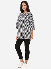 Bowknot Square Neck Cotton Hollow Out Plaid Printed Casual-t-shirt