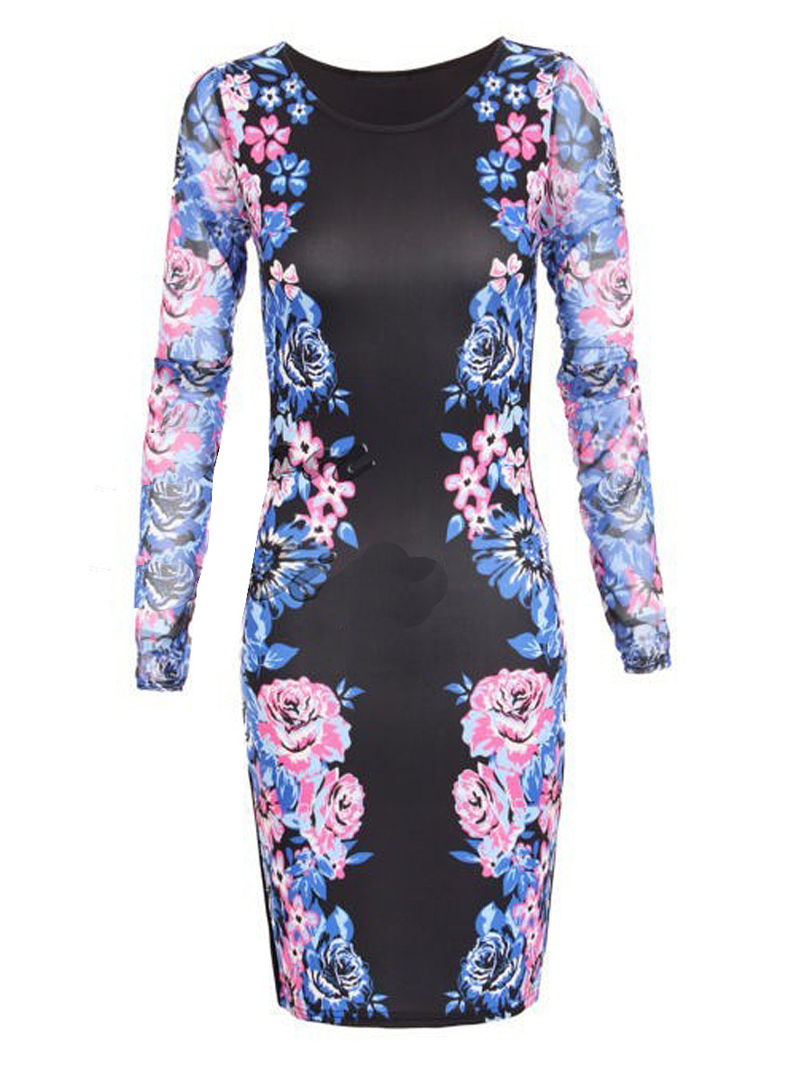 Round Neck Blended Floral Bodycon Dress