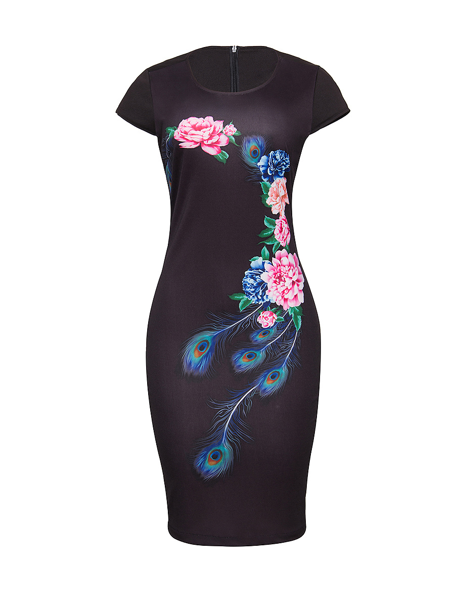 Round Neck Feather Floral Printed Bodycon-dress