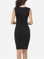 Hollow Out Decorative Buttons Elegant Round Neck Bodycon-dress