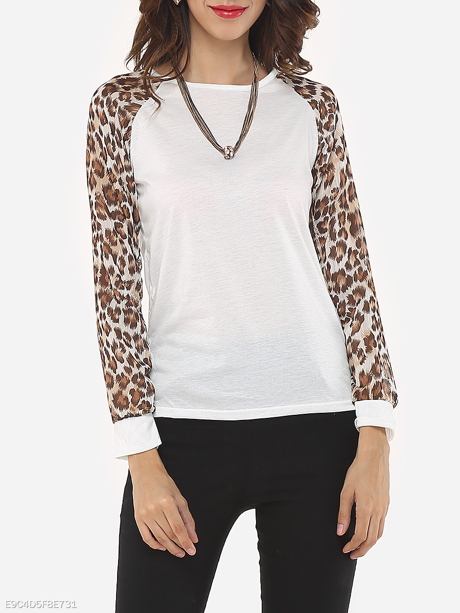 Autumn Spring  Polyester  Women  Round Neck  Patchwork  Leopard Long Sleeve T-Shirts