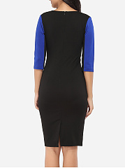 Round Neck Dacron Color Block Bodycon-dress