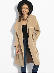 Bowknot Pockets Lapel Dacron Plain Woolen Coat