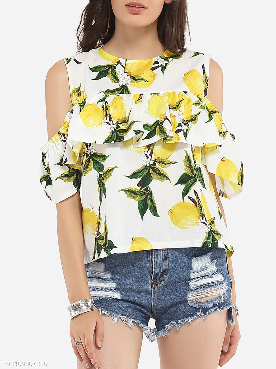 Falbala Round Neck Dacron Hollow Out Printed Short-sleeve-t-shirt