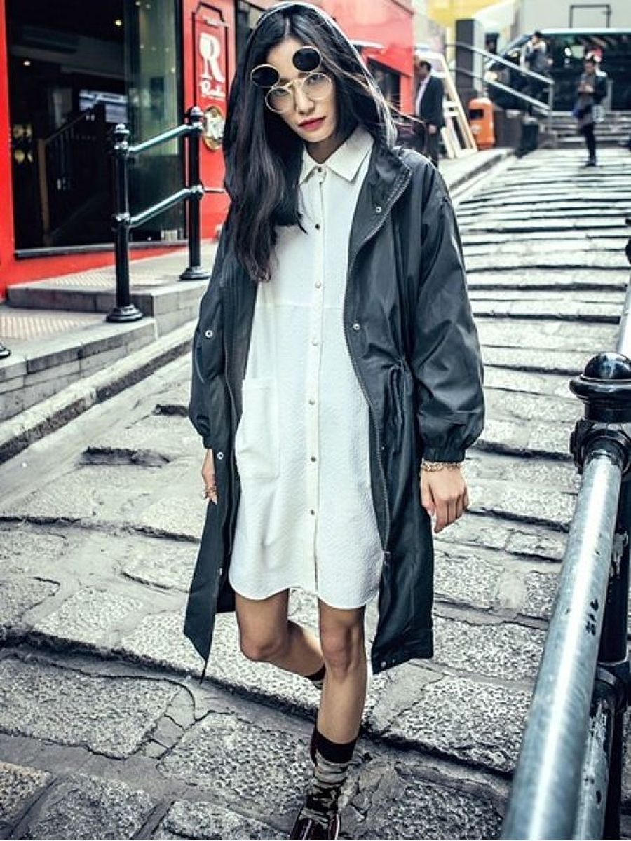 Plain Stylish Hooded Trench Coats