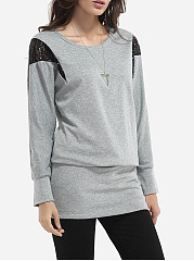 Batwing Paillette Round Neck Knit Color Block Long-sleeve-t-shirt