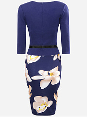 Office Women Floral Printed Belt Bodycon Dress